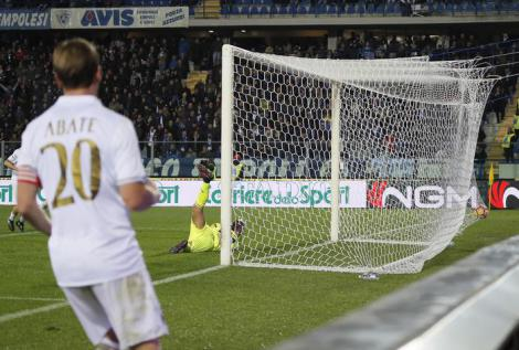 The goal scored by Milan's Suso (not seen) during the Italian Serie A soccer match Empoli FC vs AC Milan at Carlo Castellani stadium in Empoli, Italy, 26 November 2016. ANSA/FABIO MUZZI